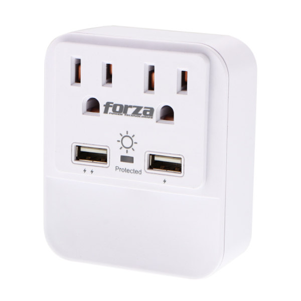 Forza Socket and Surge Protector 2 Outputs FWT-221USB / 1875W / 110V / NEMA / 2 USB / White